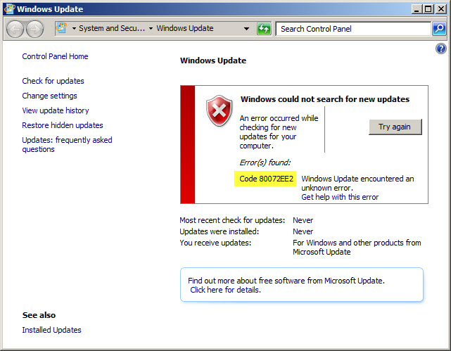 to allow for Windows Update Internet amp; Corporate WSUS – 80072EE2
