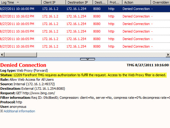 Access to the Web Proxy Filter on Forefront TMG 2010 is Denied