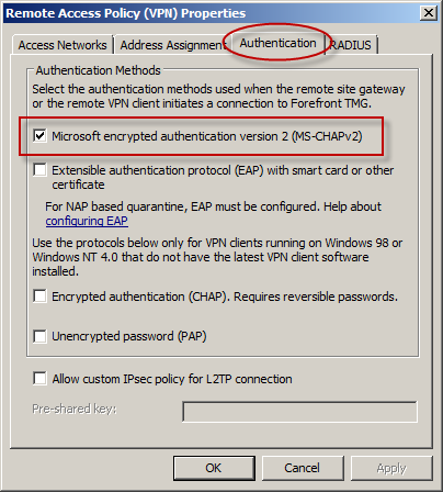 Addressing Security Issues with PPTP VPN in Forefront TMG