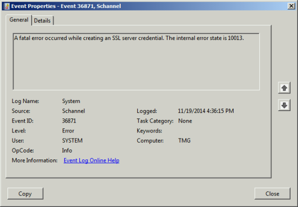 Forefront TMG 2010 SQL Services Fail to Start After Disabling SSL 3.0